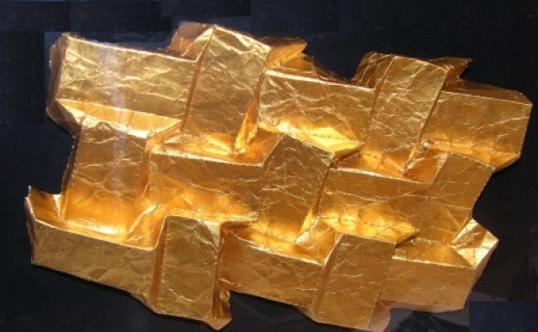 Jardins de Babylone folded goldfoil, ca. 1728 cm, 2006
