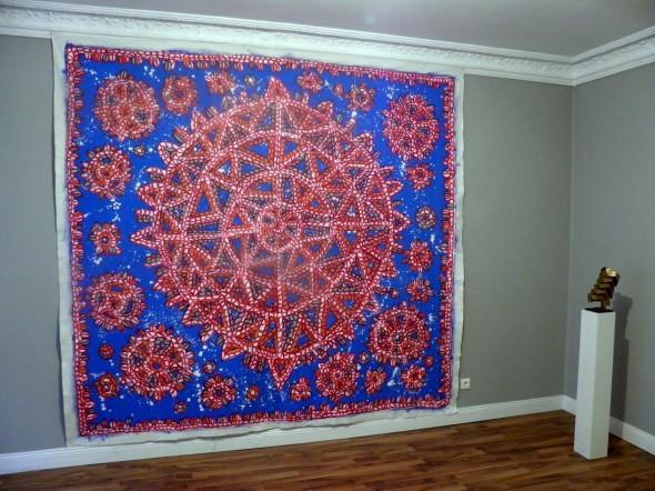 Timothy Hennessy @ Werkstattgalerie 2014 Gemälde mixed media, rot auf blau 260 x 278 cm