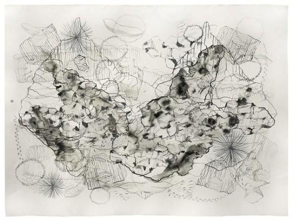 Vestigis bn I ,2014 56x76 cm, tècnica mixta sobre paper