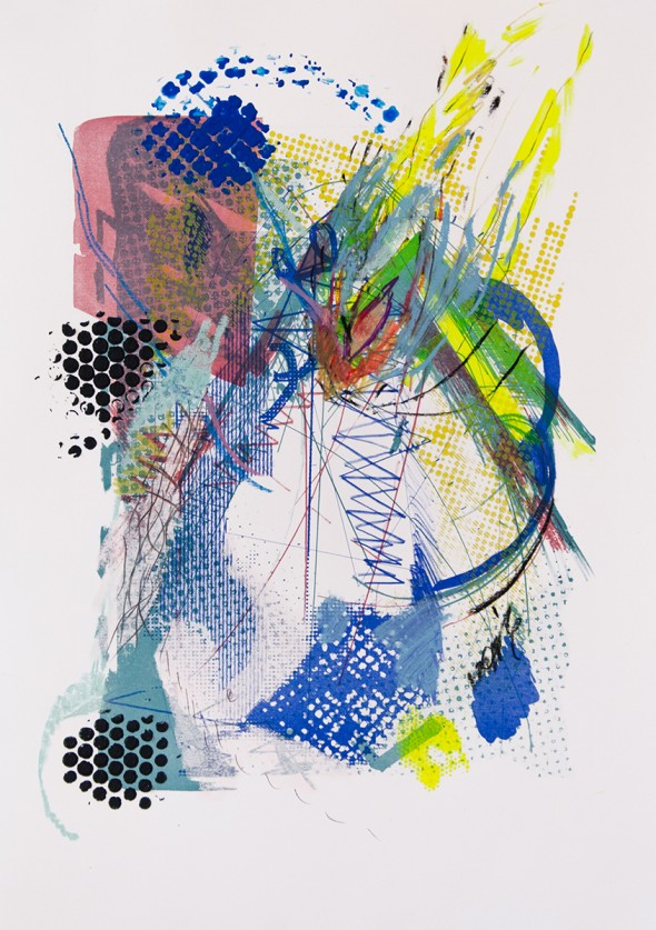 Star Invader Acryl, Pastel, Siebdruck & Lithografie auf Papier, 42 x 60 cm, 2014