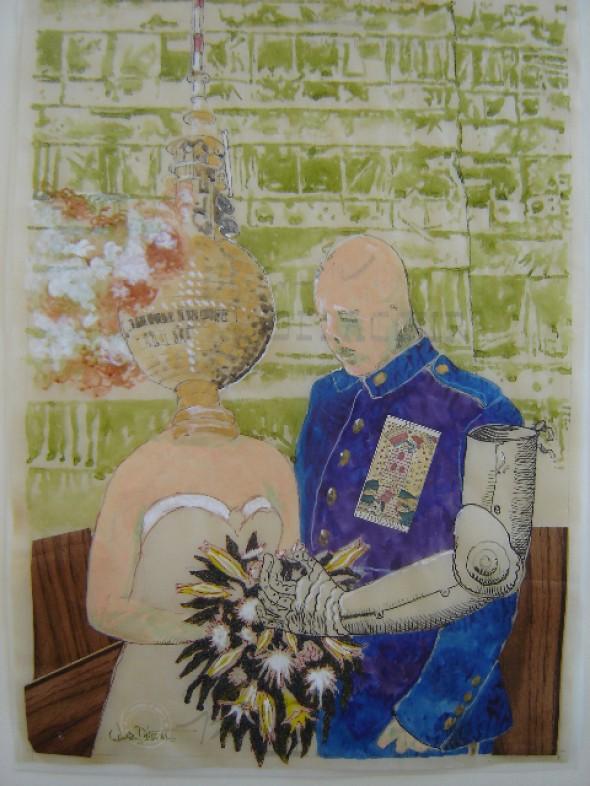 Desaster(2008) Collage auf Transparentpapier, Tusche, Wasserfarbe, Glitter, 60cm40cm, signiert