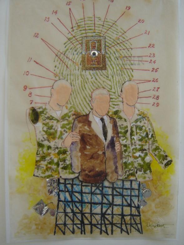 Suspect(2008) Collage auf Transparentpapier, Tusche, Wasserfarbe, Glitter, 60cm40cm, signiert