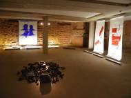 Installationview from In Between exhibition Hamburg, Alte Oberpostdirektion oil on canvas, 270x200cm, 2013  front:Makoto Fujiwara right: Rudolf zur Lippe