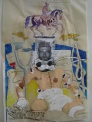 Missing(2008) Collage auf Transparentpapier, Tusche, Wasserfarbe, Glitter, 60cm40cm, signiert