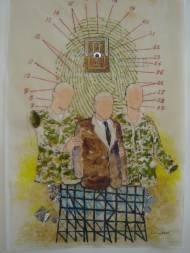 Suspect(2008) Collage auf Transparentpapier, Tusche, Wasserfarbe, Glitter, 60cm*40cm, signiert