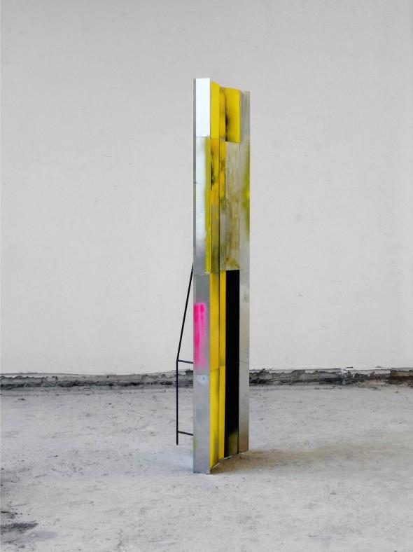 Selfportrait-Shelter painted iron and aluminium  (yellow, black, rose) ca. 230x 60 x 60 cm, 2016