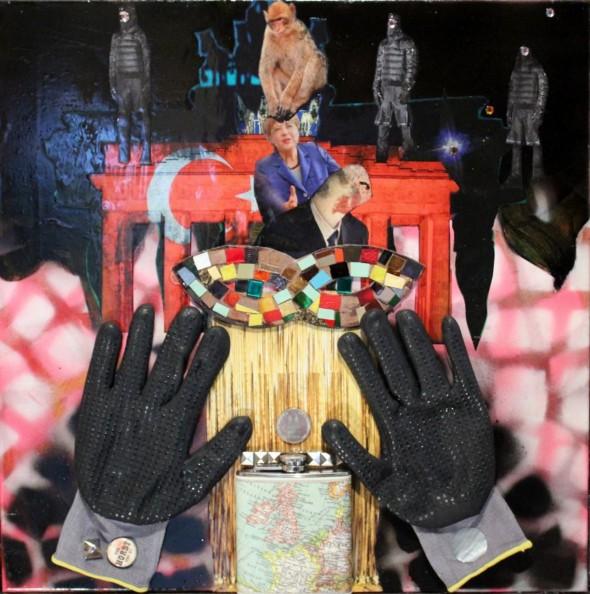 HANSA WISSKIRCHEN angst essen merkel auf mixed media, 53 x 53 x 14 cm, 2016
