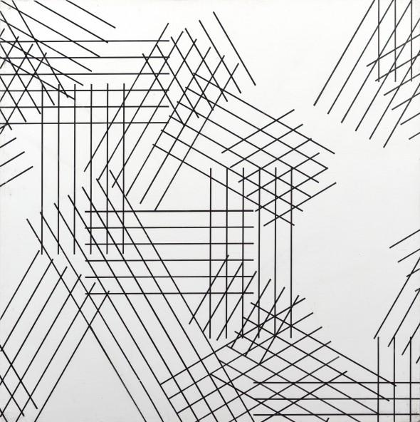 Alberto Zilocchi Linee, anni '80 inchiostro nero e acrilico bianco su tela applicate su tavola 40x40cm