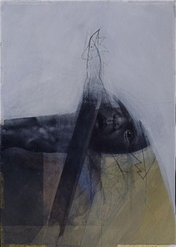 Klaus Vogelgesang Getauft Acrylund Graphitstift 101x71,5cm, 1993