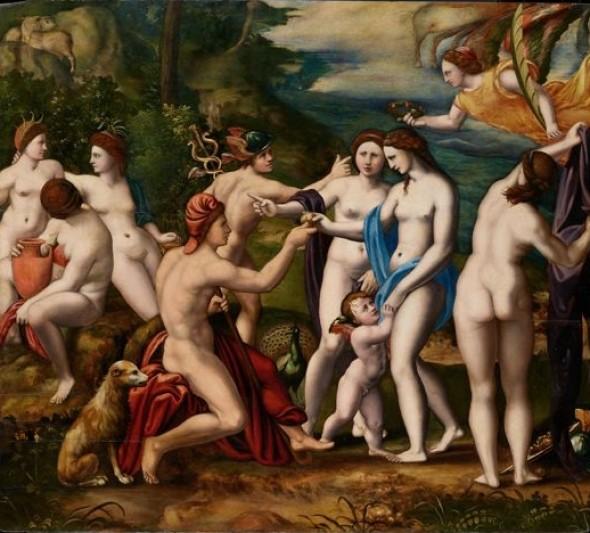 Battista Dossi Werkstatt Giudizio di Paride  Öl auf Holzplatte, 67x75cm ca. 1540-1550