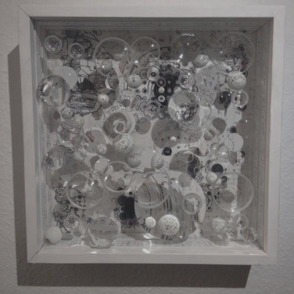 Mary Bauermeister Needless Needless Commentary 40cmx40cm, 1964 2014,  Optische Linsen, Holzkugeln,