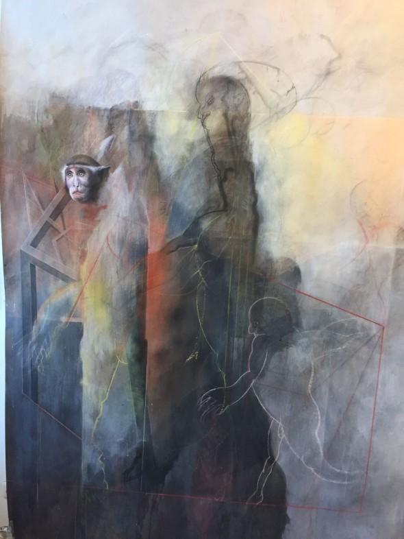 Klaus Vogelgesang EINBLICK Acrylfarben und Kreide auf Karton Entstehungsjahr 2018, 200x152cm