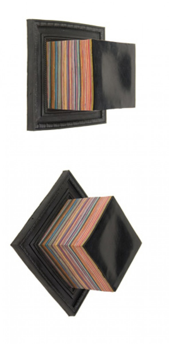 Ryan Peter Miller Paint Stacked and Framed (Black) cast acrylic paint, 23cm x 23cm x 15cm, 2009