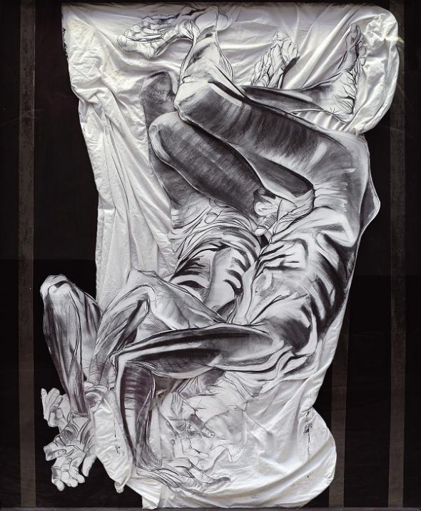 Daniel Hourdé Without title mixed media drawing, 180cm*146cm, 2002