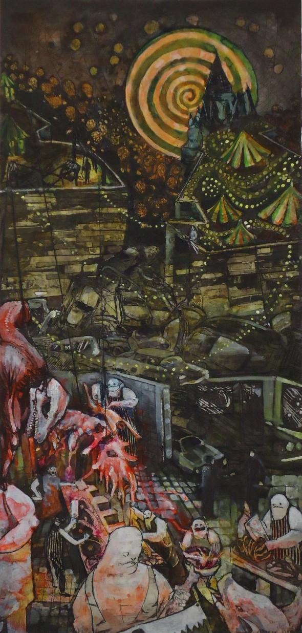 Henrik Lebede Butcher colorierte Radierung, 2009