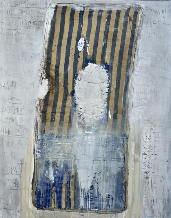 Poem for mattress I acrylic and collage on canvas, 200x160cm, 2008