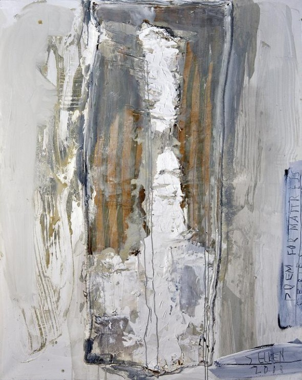 Poem for mattress IV acrylic and collage on canvas, 200x160cm, 2008