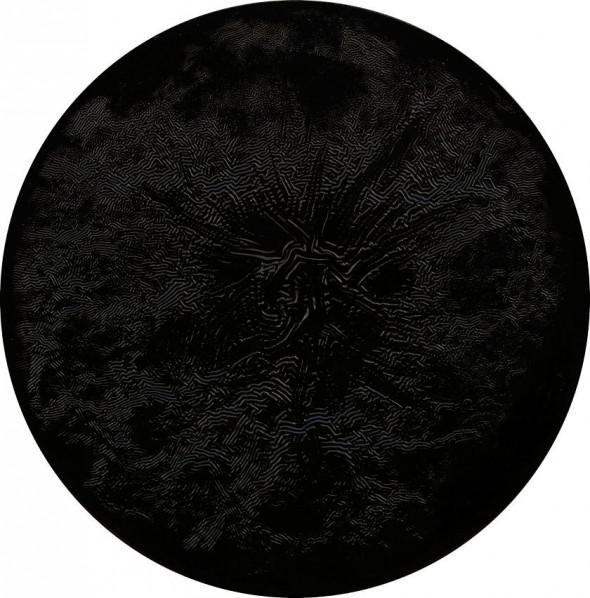 Black Interconnections householdpaint on canvas,  Ø 80 cm, 2012
