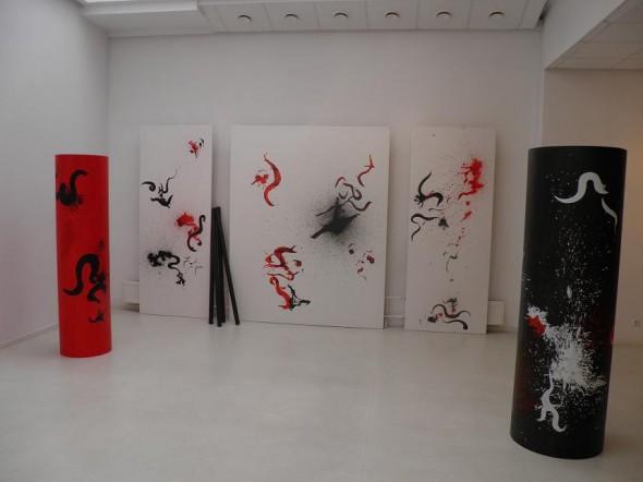 Rudolf zur Lippe Installationview Peinture Gestuelle, mixed media, dim. var., 2012
