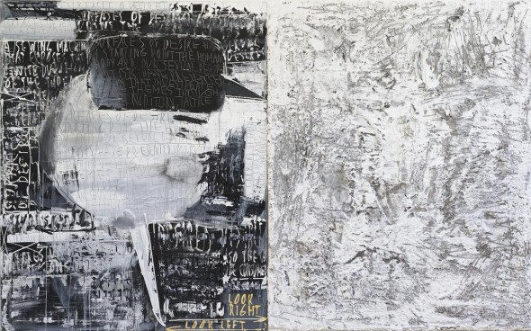 Jaan Elken Look right. Look left (in two parts)  Acrylic and collage on canvas, 200 x 320cm, 2010