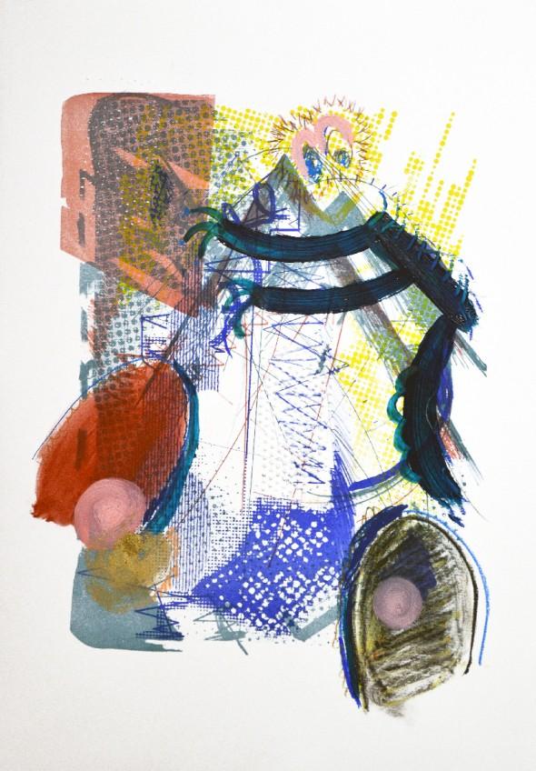 Malte Kebbel 2-äugige Kreatur Acryl, Pastel, Siebdruck & Lithografie auf Papier, 42 x 60 cm, 2014