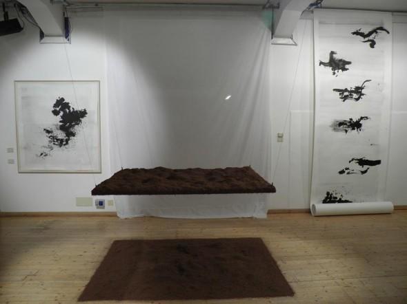 Rudolf zur Lippe Tanikawa-Bahen Chinaink on paper, 160x152cm & 500x152cm  Caroline Le Mehaute Negotiation 34 #2 200x135x120cm,2011