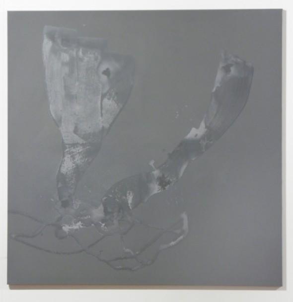 Daniel Lergon Zink1 oxidiertes Zink auf Leinwand, 160x160cm, 2014