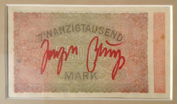 Joseph Beuys  signierte 20.000 Mark Reichsbanknote 15x8cm