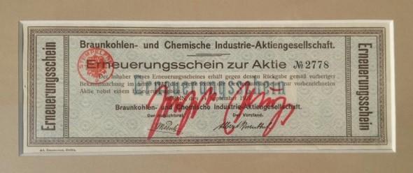 Joseph Beuys  signieter Aktien Erneuerungsschein, 19x7cm