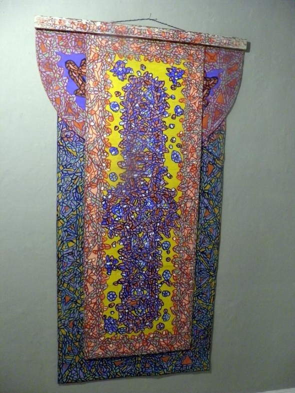 mixed media auf Leinwand, 3-fach bemalt  mit bemalter Holzleiste 200 x 113 cm
