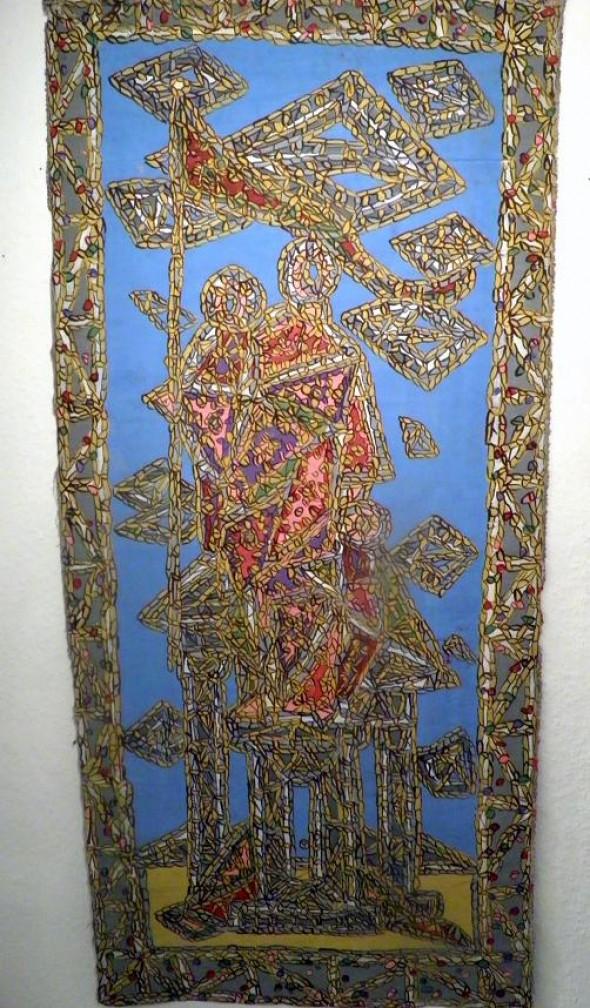 """Madonna mit Kind"" mixed media auf Leinwand, beidseitigbemalt, 124 x58 cm"