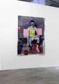 basketball player,  2015 200x 140 cm oil on paper stuck on aluminum