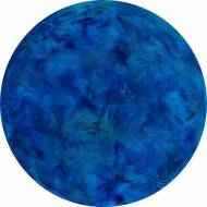 Blue Interconnections householdpaint on canvas,  Ø 80 cm, 2012