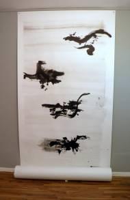 Tanikawa Shuntarō-Bahn Chinatusche auf Papier, 450x 151 cm, 2012