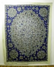 Gemälde mixed media, grau auf dunkelblau 250 x 200 cm
